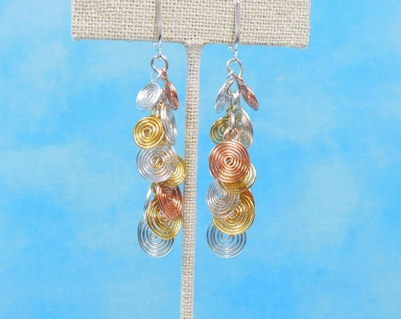 Artisan Crafted Clip On Spiral Cluster Dangles, Sculpted Wire Non Pierced Earrings, Artistic Jewelry Birthday Present or Anniversary Gift