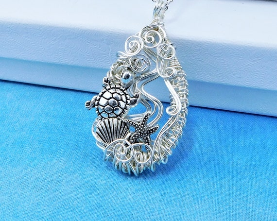 Woven Wire Sea Turtle Necklace, Artistic Sea Animal Pendant, Unique Wire Wrapped Ocean Beach Theme Wearable Art Jewelry Gift for Women