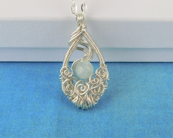 Wire Wrapped Aquamarine Pendant, March Birthstone Necklace, Artisan Crafted Unique Gemstone Jewelry, Artistic Birthday Gift, Present Ideas