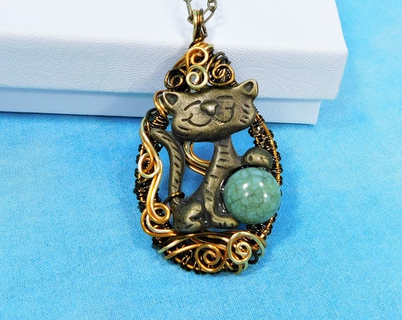 Artisan Crafted Cat Necklace Pet Lover Gift, Artistic Unique Wire Wrapped Kitty Pendant, Handmade Wearable Art Jewelry Present for Women