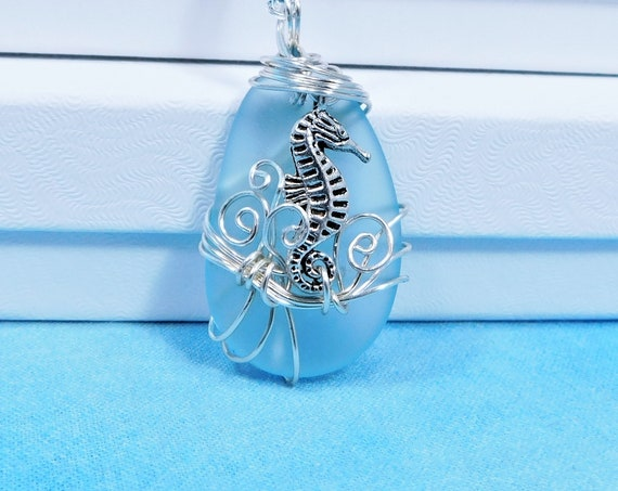 Seahorse Necklace Beach Theme Jewelry, Unique Wire Wrapped Wearable Art Fish Pendant, Handcrafted One of a Kind Marine Life Present Ideas