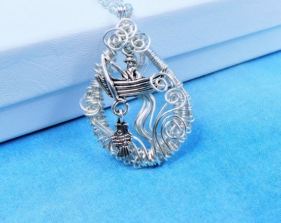 Unique Fishing Theme Necklace, Wire Wrapped Beach Jewelry, Handmade Ocean / Sea Life Pendant Mother in Law Gift, Present for Women who Fish