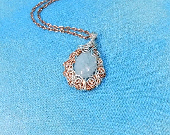 Wire Wrapped Aquamarine Pendant, March Birthstone Necklace, Rose Gold Colored Copper and Gemstone March Birthday Present or Anniversary Gift