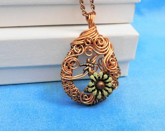 Unique Wire Wrapped Dragonfly Necklace, Artistic Handmade Pendant, Artisan Crafted  Wearable Art Jewelry Mother's Day Present Ideas for Wife