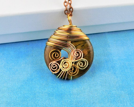 Artistic Wire Wrapped Tiger Eye Pendant, Unique Gemstone Donut Necklace, Artisan Crafted Jewelry for Birthday Present or Anniversary Gift
