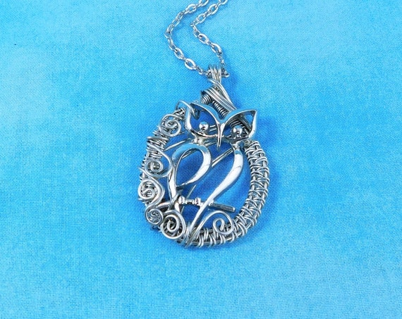 Artisan Crafted Owl Necklace, Unique Wearable Art Jewelry, Woven Wire Wrapped Pendant for Anniversary, Graduation or Birthday Present