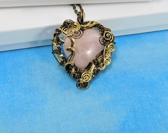 Large Rose Quartz Heart Necklace, Gemstone Heart Pendant, Unique Pink Gem, Artisan Crafted Wire Wrapped Stone Jewelry, Wearable Art Present