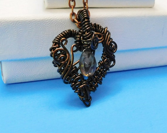 Heart Shaped Smoky Quartz Necklace, Unique Woven Wire Wrapped Genuine Gemstone Pendant, Handmade Artisan Crafted Wearable Art Jewelry