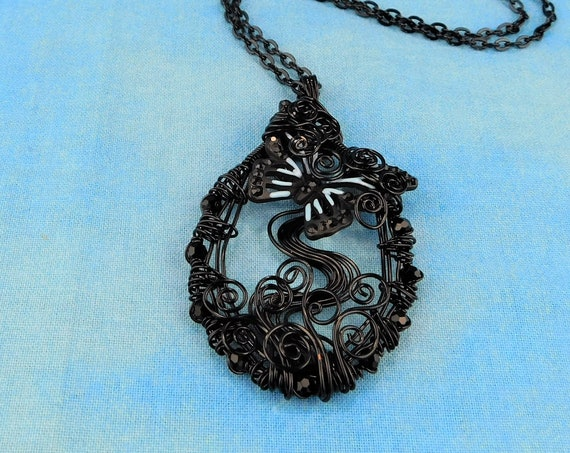 Black Butterfly Necklace, Unique Wire Wrapped Pendant, Artistic Handcrafted Wearable Art, One of a Kind Jewelry Present Ideas for Women