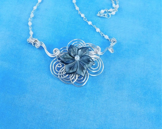 Sculpted Wire Mother of Pearl Flower Necklace, Unique Handmade Gemstone  Wearable Art Jewelry Present for Mom, Wife or Mother in Law Gift