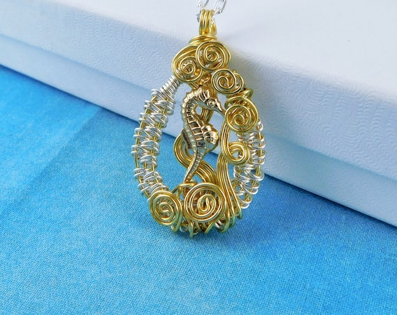 Artistic Seahorse Necklace, Unique Wire Wrapped Ocean Theme Pendant, Artisan Crafted Wearable Art Beach Jewelry One of a Kind Gift for Women