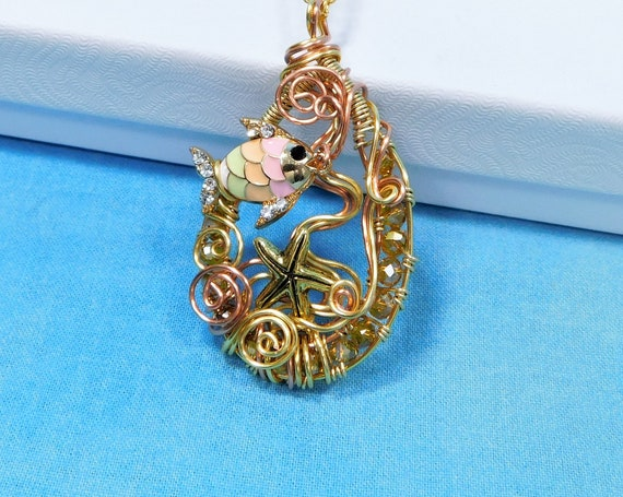Tropical Fish Jewelry Beach Theme Necklace, Woven Wire Wrapped Fun Beach Pendant, Whimsical Ocean Theme Wearable Art Mother's Day Gift