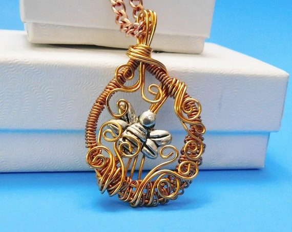 Unique Wire Wrapped Bee Necklace, Artistic Bumblebee Pendant, Hand Woven Artisan Crafted Copper Jewelry, Artistic Handmade Present Ideas