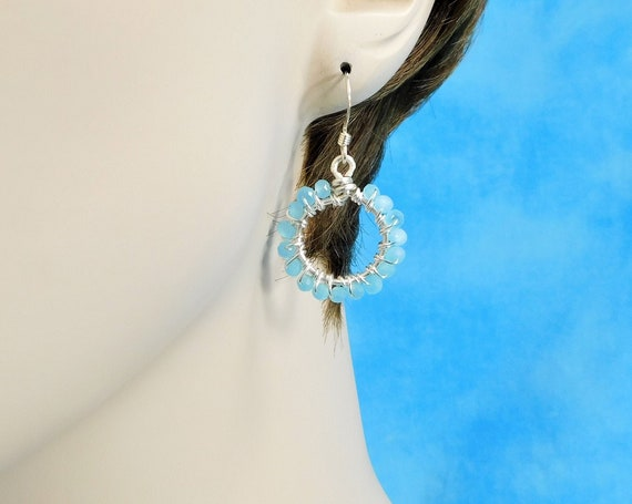 Small Blue Crystal Hoop Earrings, Unique Wire Wrapped Artistic Jewelry, Handcrafted Mother's Day Present for Mom, Wife or Mother in Law