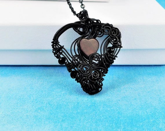 Romantic Heart Necklace, Unique Artistic Woven Wire Wrapped Pendant, Artisan Crafted  Jewelry, Handmade Wearable Art Present Ideas for Women