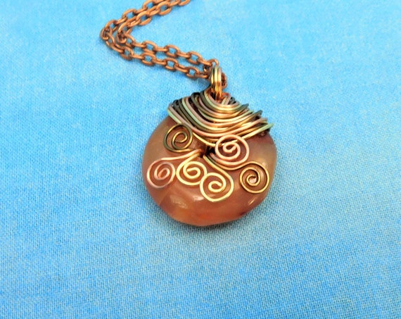Wire Wrapped Carnelian Pendant, Artisan Crafted Gemstone Donut Necklace, Artistic Jewelry Gift Wearable Art Mother's Day Present for Mom