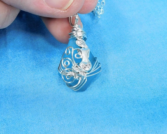 Artisan Crafted Blue Sea Glass Mermaid Necklace, Unique Wire Wrapped Artistic Ocean Pendant Beach Theme Jewelry Present for Wife or Daughter