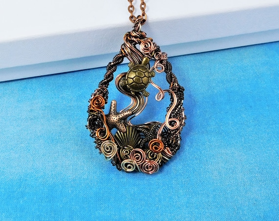 Woven Copper Sea Turtle Necklace, Artistic Handmade Wire Wrapped Pendant, Ocean Beach Marine Life Theme Wearable Art Jewelry for Women