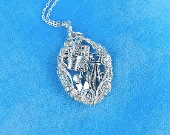 Chef Theme Cooking Pendant, Unique Artisan Crafted Wire Wrapped Jewelry, Artistic Necklace for Baker Chef Cook, Mother in Law Gift Idea