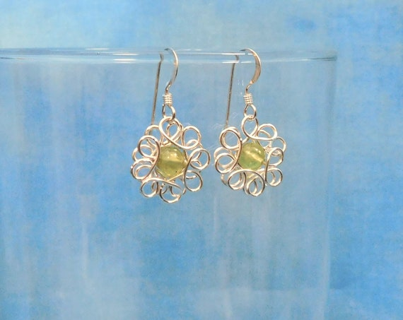 Peridot Earrings August Birthstone Unique Artisan Crafted Wire Wrapped Flower Dangles Gemstone Jewelry Wearable Art Gift Ideas for Women