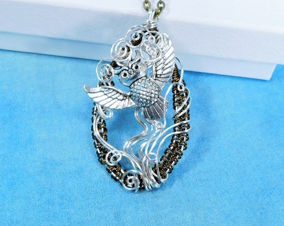 Woven Wire Owl Necklace, Unique Wire Wrapped Artisan Crafted Bird Pendant, Artistic Handmade Jewelry, One of a Kind Handcrafted Wearable Art