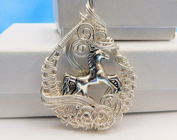 Horse Necklace Jewelry Gift Equestrian Pendant Animal Lover Unique Woven Wire Artistic Wrapped Artisan Crafted Wearable Art Handmade Present