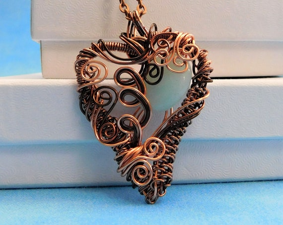 Aquamarine Necklace  Unique Artisan Crafted Artistic Heart Birthstone Pendant Handmade Gemstone Jewelry March Birthday Present Ideas for Her