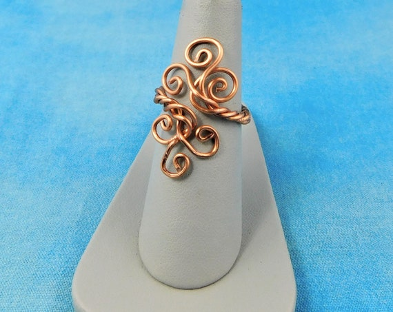 Copper Wire Wrapped Ring for Women, Artistic Wire Sculpted Wearable Art Jewelry Gift for Girlfriend, Wife, Daughter, Sister or Best Friend