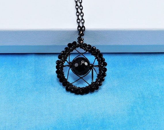 Black Onyx Necklace, Artisan Crafted, Unique Artistic Woven Wire Wrapped Gemstone Pendant, Handmade Wearable Art Jewelry with Black Crystals