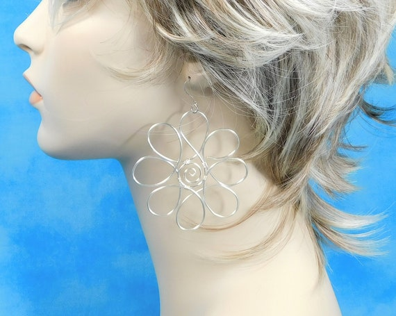 Very Large Silver Wire Sculpted Big Flower Earrings, Lightweight Statement Earrings, Wire Jewelry Christmas Present for Wife or Girlfriend