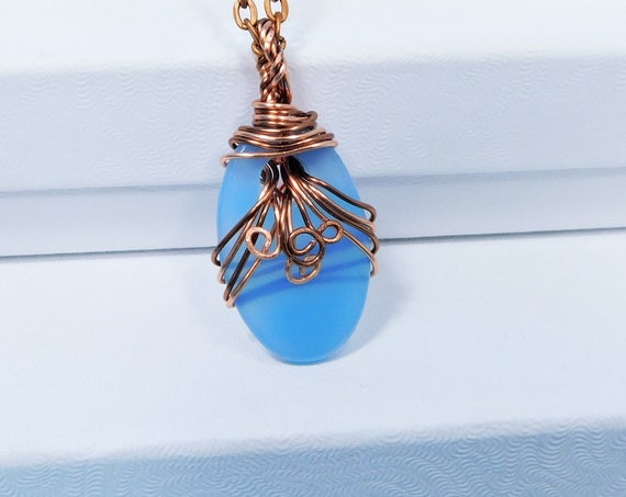 Artistic Blue Agate Necklace Wire Wrapped Gemstone Pendant, Artisan Crafted Jewelry Unique Handmade Wearable Art Present Ideas for Women