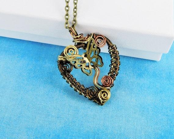 Artisan Crafted Woven Copper Wire Wrapped Heart and Butterfly Pendant Style Necklace, Handcrafted Wearable Art Jewelry Gift Ideas for Women