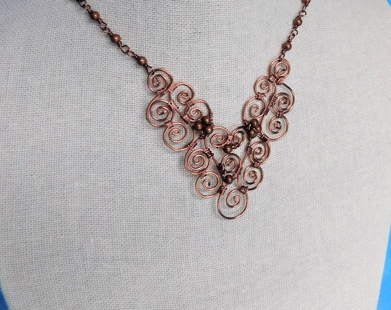 Artisan Crafted Copper Statement Necklace, Unique Wire Wrapped Jewelry, Artistic Handcrafted 7th Anniversary Gift, Present Ideas for Wife