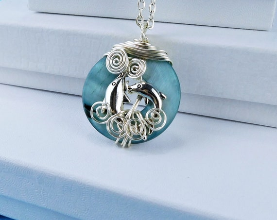 Dolphin Pendant Beach Jewelry, Artisan Crafted Unique Wire Wrapped Ocean Theme Sea Wildlife Necklace, Animal Lover Present for Girlfriend