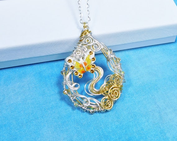 Artistic Wire Wrap Butterfly Necklace, Unique Memorial Jewelry, Wearable Art Pendant for Graduation, Bereavement Present or Memorial Gift