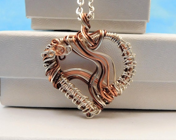 Artistic Heart Necklace,  Unique Woven Wire Wrapped Pendant, Artisan Crafted Wearable Art Jewelry, Anniversary Present Ideas for Women