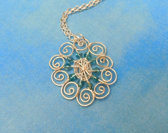 Artistic Wire Wrapped Blue Flower Necklace, Artisan Crafted Handmade Jewelry, Unique Pendant Present for Wife, Mom, or Mother in Law Gift