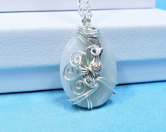 Wire Wrapped Aquamarine Pendant March Birthstone Mermaid Necklace, Gemstone Jewelry Birthday Present for Wife, Girlfriend or Best Friend