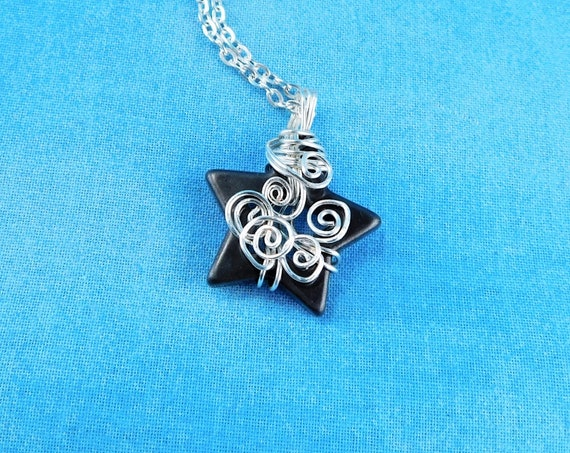 Wire Wrapped Hematite Star Pendant, Unique Artistic Gemstone Necklace, One of a Kind Handmade Artisan Crafted Wearable Art Jewelry Present