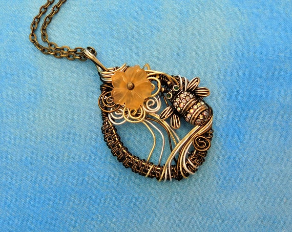Artisan Crafted Bee Necklace, Artistic Handmade Honeybee Pendant, Unique Woven Wire Wrapped Wearable Art Bumblebee Jewelry Beekeeper Present