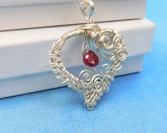 Woven Wire Ruby Heart Necklace, Artistic Genuine Gemstone July Birthstone Pendant, Romantic Wearable Art Jewelry Anniversary Gift for Wife