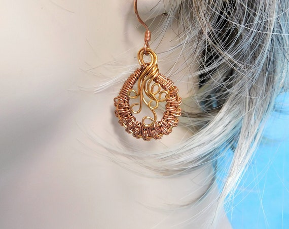 Artistic Rustic Copper Earrings, Woven Wire Wrapped Jewelry for Anniversary Gift for Wife, Boho Wearable Art Birthday Present for Women