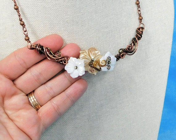 Woven and Sculpted Wire Mother of Pearl Shell Flower Necklace, Artistic Bohemian Floral Bib Necklace Gift for Girlfriend, Wife or Mom