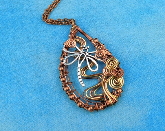Unique Copper Wire Wrapped Dragonfly Necklace, Artisan Crafted Wearable Art Jewelry, Artistic Pendant Christmas Present Ideas for Women
