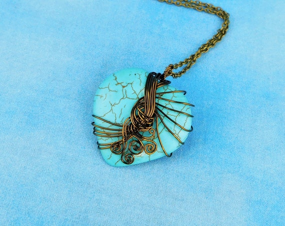Large Wire Wrapped Gemstone Heart Pendant, Unique Artisan Crafted Blue Stone Necklace, Handmade Wearable Art Jewelry Present Ideas for Women