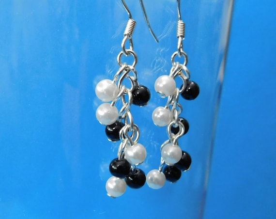 Black and White Pierced Earrings, Handcrafted Beaded Cluster Dangles, Unique Wire Wrapped Handmade Jewelry, Birthday or Christmas Present