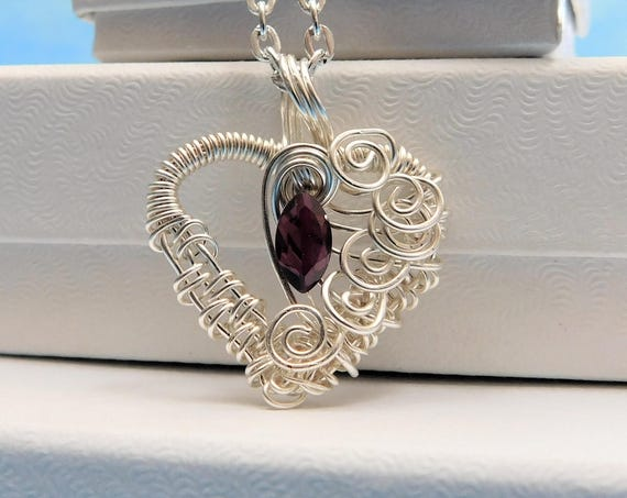 Heart Shaped Garnet Necklace, Unique Wire Wrapped Gemstone Pendant, Artisan Crafted January Birthstone Jewelry, Artistic Birthday Present