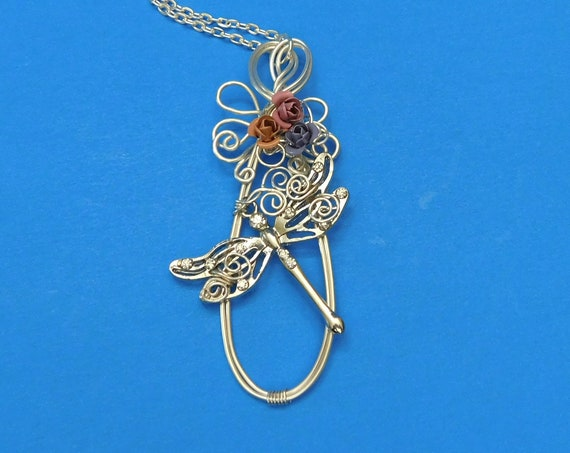 Wire Wrapped Dragonfly Necklace, Unique Handmade Artisan Crafted Flower Pendant, One of a Kind Wearable Art Jewelry Present Ideas for Women