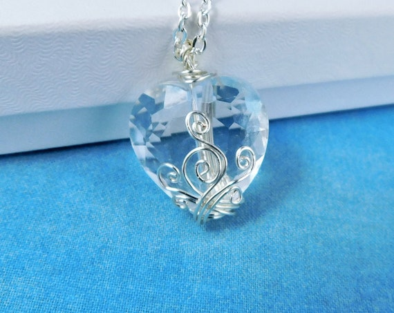 Wire Wrapped Heart Pendant, Artistic Handmade Crystal Heart Necklace, Wearable Art Jewelry for Anniversary Gift or Birthday Present for Wife