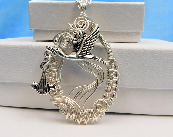 Grandma Necklace Baby Announcement Grandparent Gift Unique Wire Wrap Jewelry Mom Present Stork Delivery Expecting a Baby Pregnancy Reveal
